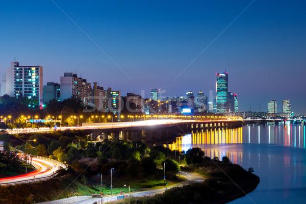 Сеул Cityscape Южная Корея ночь дороги здании Сток-фото © leungchopan