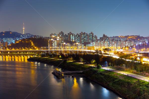 Seoul cityscape at night Stock photo © leungchopan