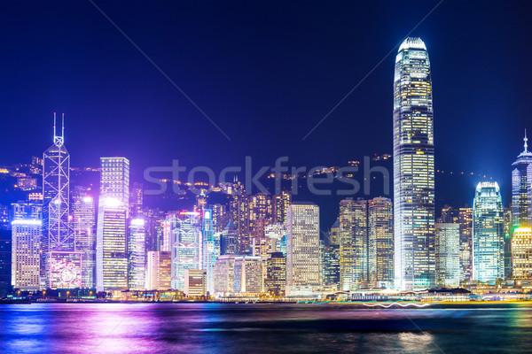 Hong Kong nacht gebouw zonsondergang zee oceaan Stockfoto © leungchopan