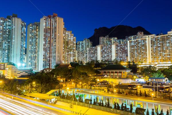 Public logement Hong-Kong nuit ville construction Photo stock © leungchopan