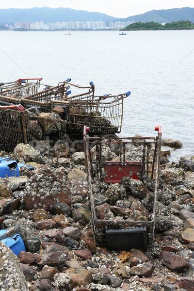 мусора побережье воды океана песок бутылку Сток-фото © leungchopan