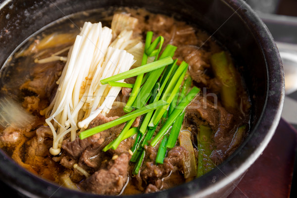 Korean cuisine, Bowl of beef soup Stock photo © leungchopan