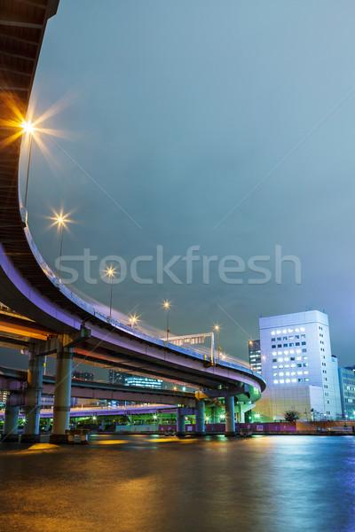 Vervoer Tokio gebouw stad zee nacht Stockfoto © leungchopan