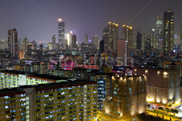 Hong Kong affollato edifici notte business cielo Foto d'archivio © leungchopan