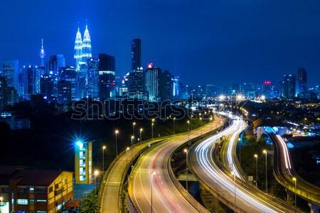 Kuala Lumpur ufuk çizgisi gece gökyüzü ofis şehir Stok fotoğraf © leungchopan