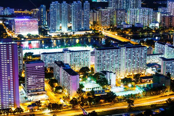 Hong-Kong public logement bâtiment ville nuit Photo stock © leungchopan