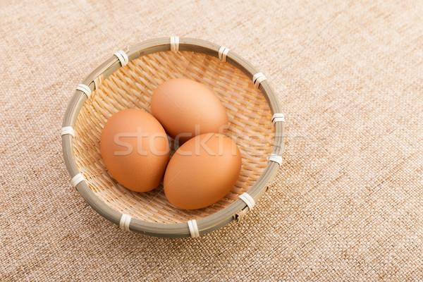 Kosárnyi tojás vászon természet háttér tyúk csoport Stock fotó © leungchopan