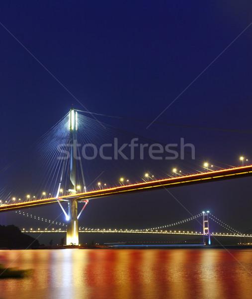 Ting Kau Bridge and Tsing ma Bridge at evening, in Hong Kong Stock photo © leungchopan
