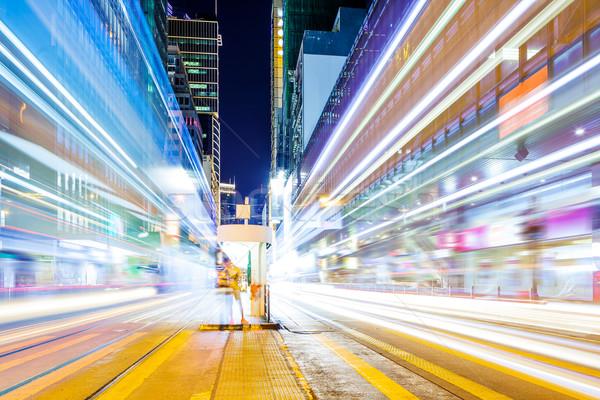 Verkeer Hong Kong nacht business weg gebouw Stockfoto © leungchopan