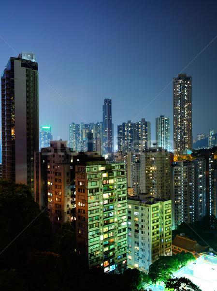 downtown in Hong Kong at night Stock photo © leungchopan