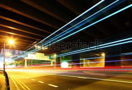Nacht stoplicht parcours weg stad abstract Stockfoto © leungchopan
