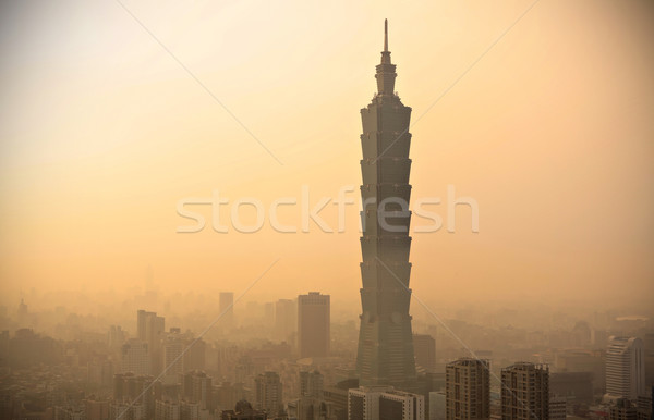 Taipei with heavy smog at sunset Stock photo © leungchopan