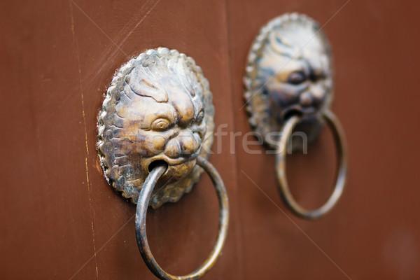 Chinese deur behandelen vintage draak antieke Stockfoto © leungchopan