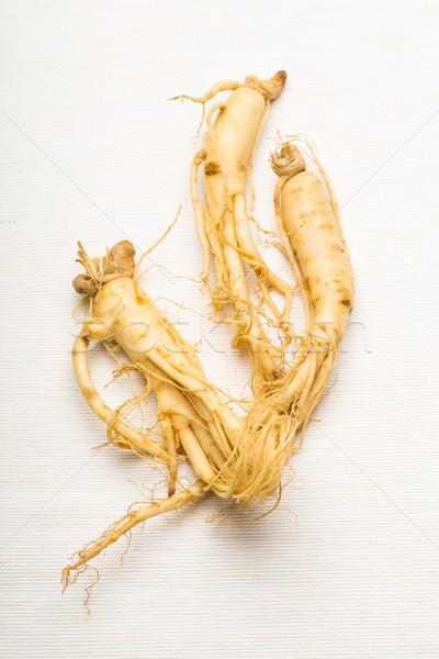 Friss ginzeng textúra étel fehér Ázsia Stock fotó © leungchopan