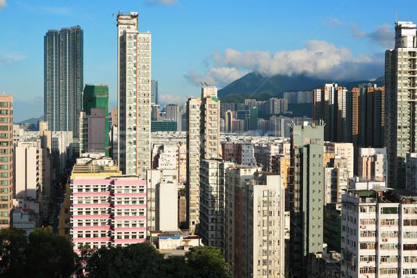 Hongkong zatłoczony budynku miasta ściany domu Zdjęcia stock © leungchopan