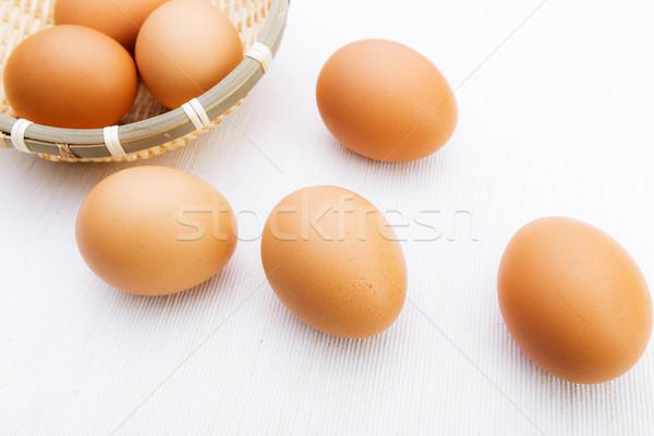 Stockfoto: Vers · bruin · witte · eieren · doek · boerderij