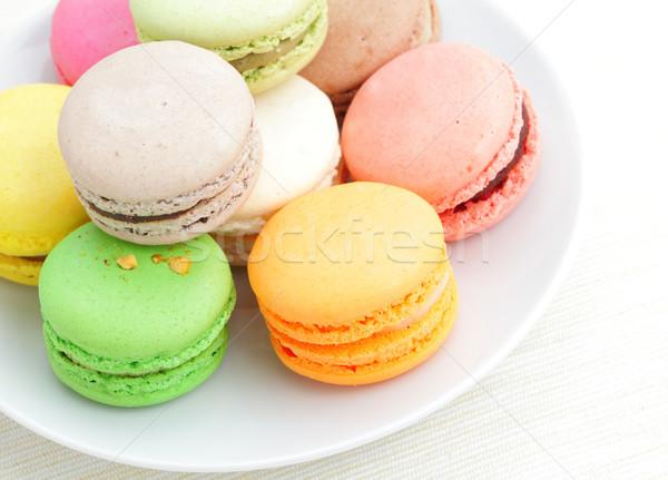 Stockfoto: Macaron · voedsel · chocolade · cake · groene · framboos