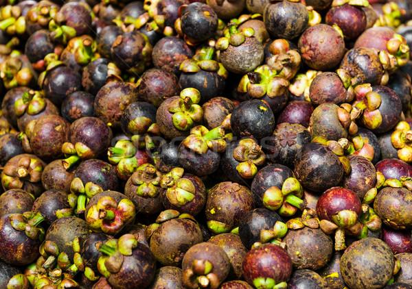 Мангостин рынке Таиланд фрукты свежие Purple Сток-фото © leungchopan