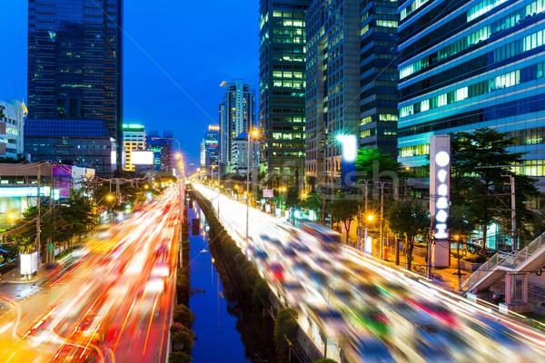Bangkok panoramę korku działalności drogowego budynku Zdjęcia stock © leungchopan
