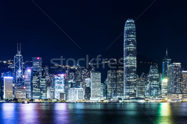 Sötétség Hongkong sziluett üzlet égbolt felhőkarcoló Stock fotó © leungchopan