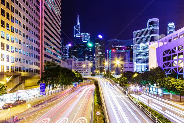 Tráfico Hong Kong noche cielo edificio ciudad Foto stock © leungchopan