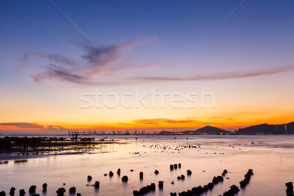 Sunset over sandy beach in low tide  Stock photo © leungchopan