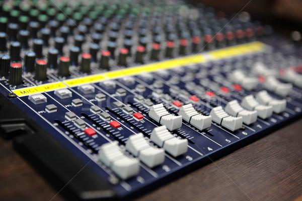 Ses mikser büro dişli stüdyo tahta Stok fotoğraf © leungchopan