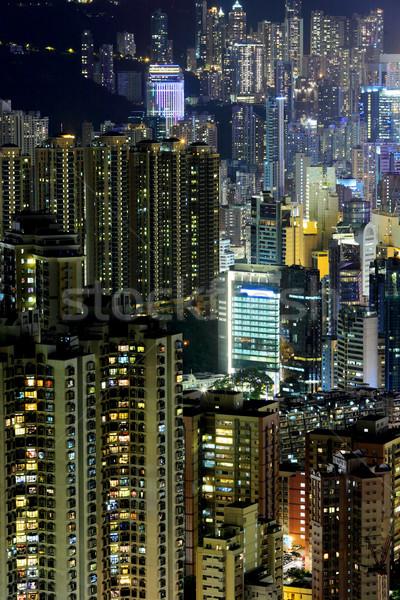 Hongkong Night City niebo miasta ulicy domu Zdjęcia stock © leungchopan