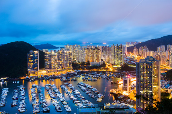 Aberdeen typhoon shelter in Hong Kong at night Stock photo © leungchopan