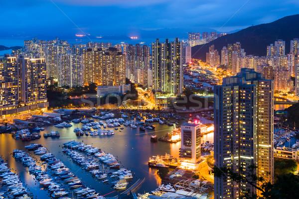 Abrigo Hong Kong noite céu escritório árvore Foto stock © leungchopan