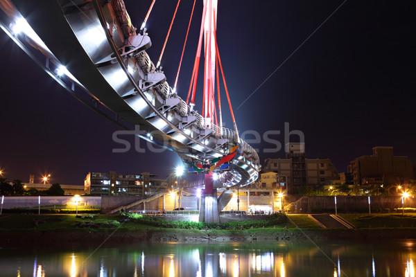 Köprü gece Tayvan iş Bina inşaat Stok fotoğraf © leungchopan