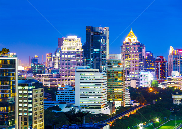 Bangkok ufuk çizgisi gece iş Bina şehir Stok fotoğraf © leungchopan