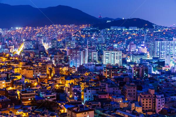 şehir Güney Kore gece yol manzara ev Stok fotoğraf © leungchopan