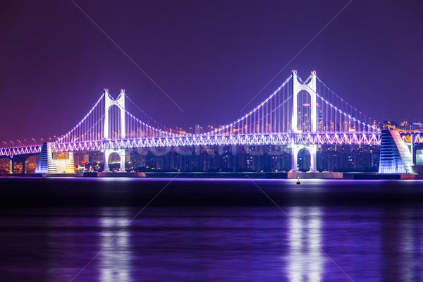 Puente colgante noche agua carretera edificio paisaje Foto stock © leungchopan