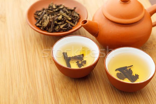 китайский чай церемония воды продовольствие древесины Сток-фото © leungchopan