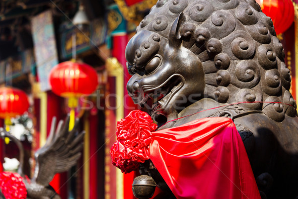 Imperial Lion in Chinese temple Stock photo © leungchopan