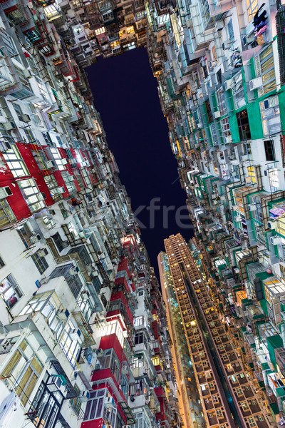 Hong Kong crowded building at night Stock photo © leungchopan