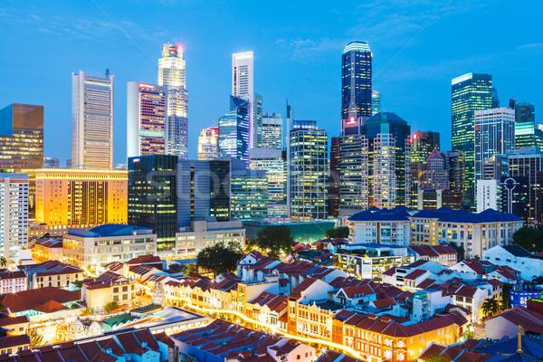Stok fotoğraf: Singapur · şehir · gece · gökyüzü · ofis · ev · şehir