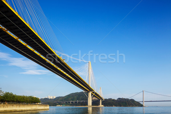 Hangbrug Hong Kong hemel water weg berg Stockfoto © leungchopan