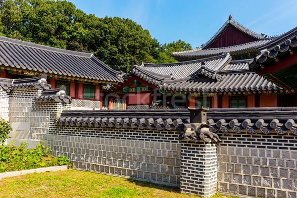 Tradicional arquitetura casa parede projeto azul Foto stock © leungchopan