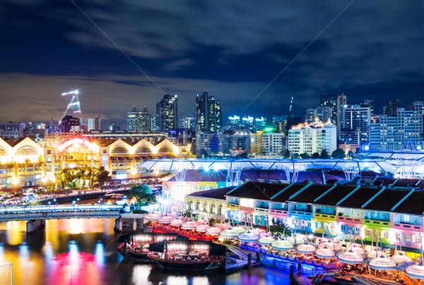 Singapore skyline nacht hemel water gebouw Stockfoto © leungchopan