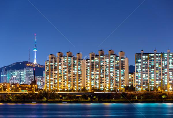 Seúl ciudad edificio edificios urbanas noche Foto stock © leungchopan