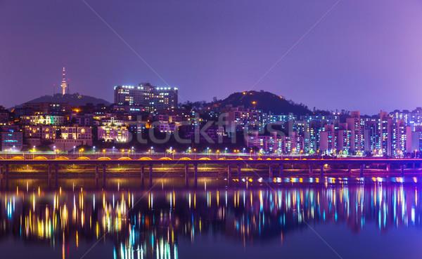 Seul linha do horizonte edifício casa montanha ponte Foto stock © leungchopan