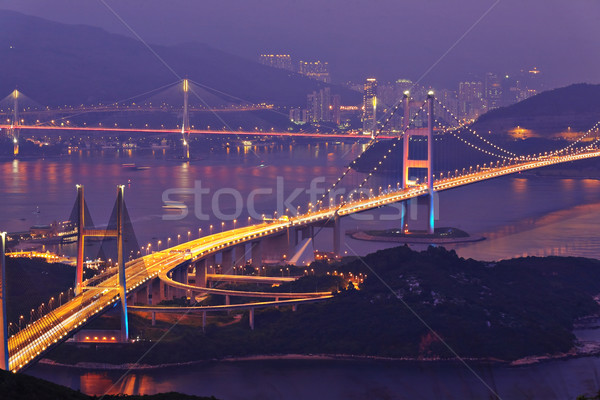 Tsing Ma Bridge in Hong Kong at night Stock photo © leungchopan