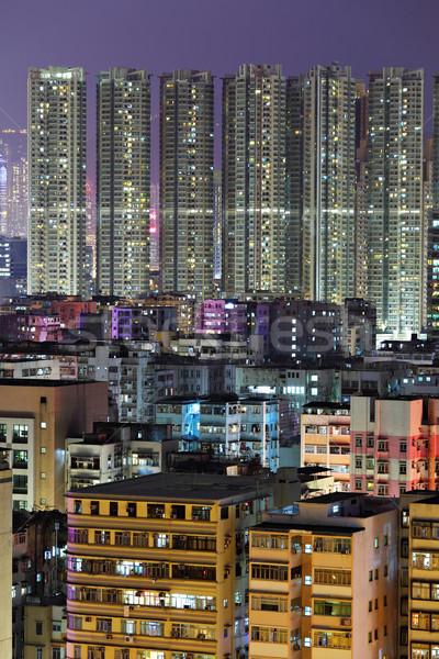 Foto stock: Hong · Kong · centro · de · la · ciudad · muchos · edificio · noche · negocios