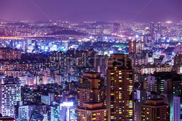 Seul noite edifício aço asiático Foto stock © leungchopan