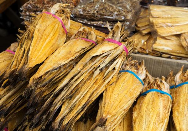 Tradicional salgado peixe mercado textura rei Foto stock © leungchopan