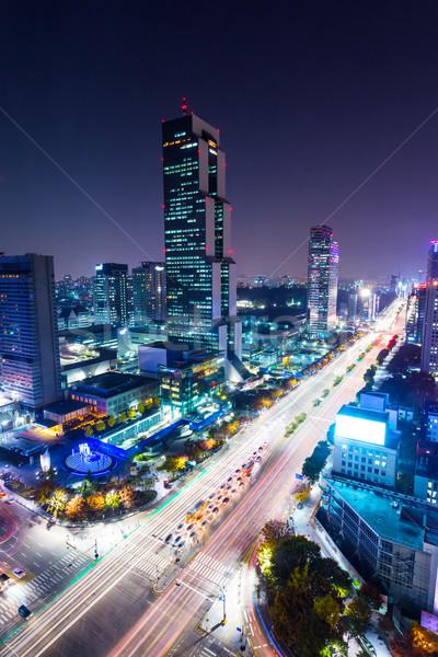 Distrito Seul noite da cidade edifício cidade paisagem Foto stock © leungchopan