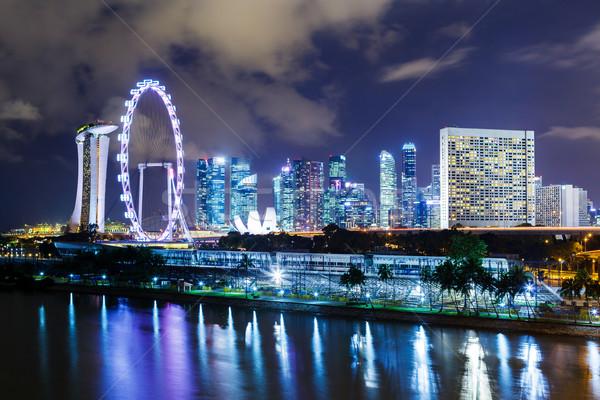 Singapur noche agua ciudad horizonte arquitectura Foto stock © leungchopan