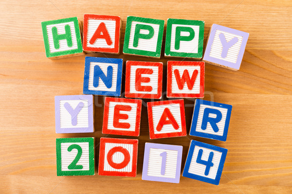 Happy new year for 2014 toy block Stock photo © leungchopan